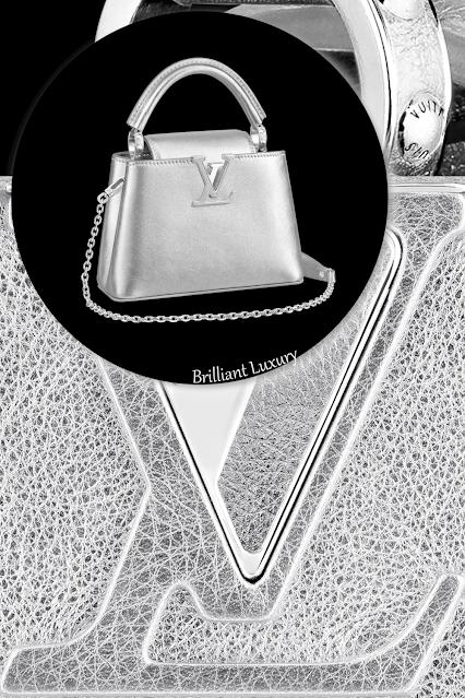 Louis Vuitton Capucines mini radiant silver lambskin winter ice shimmering bag #brilliantluxury