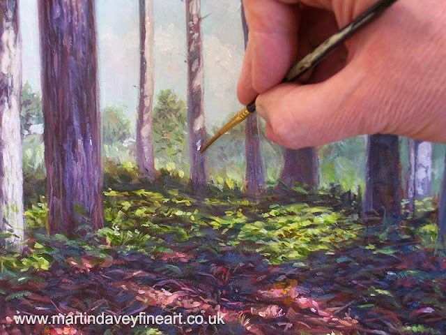 M p Davey artist New Forest pine trees WIP