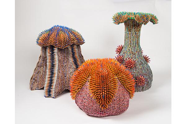 морские скульптуры Дженнифер Маестре из цветных карандашей