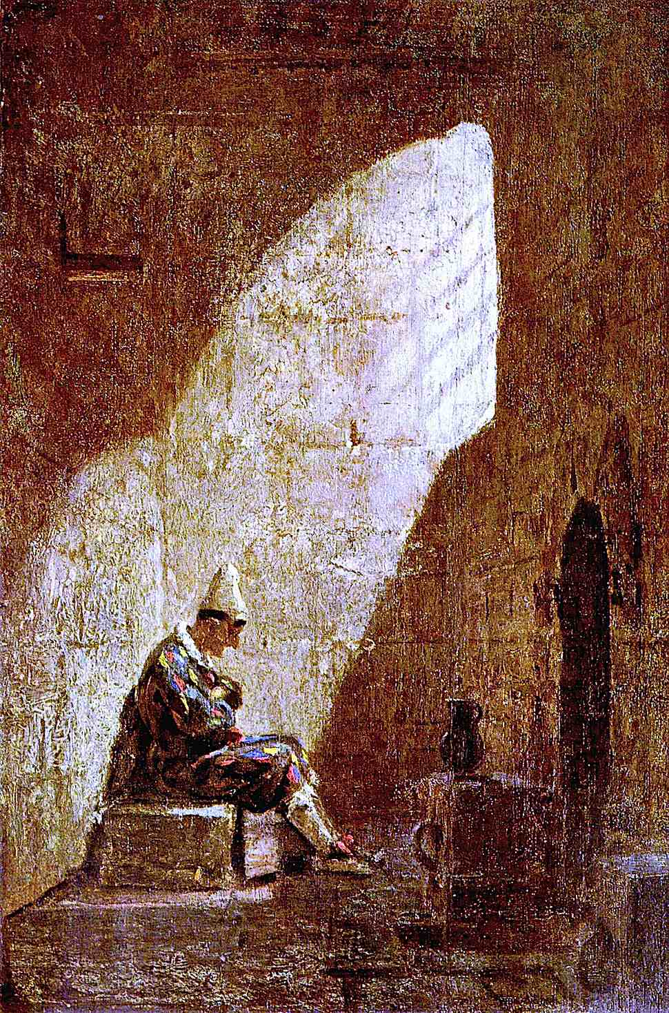 a Carl Spitzweg painting of a harlequin jester imprisoned in a cell