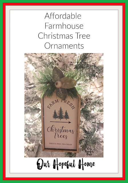 wooded Christmas tree farm sign ornament