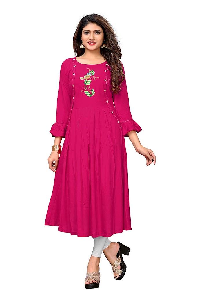 Vbuyz Women's Plain/Embroidered Anarkali Rayon Pink Kurti