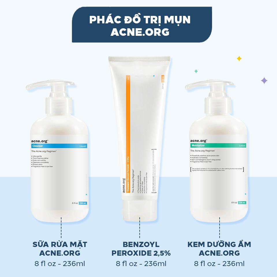 Bộ ba sản phẩm nằm trong phác đồ trị mụn của Acne.org