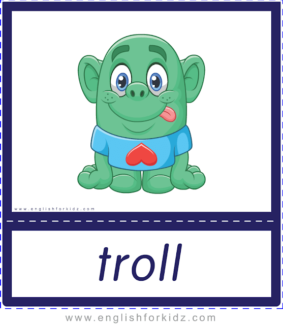 Troll - Printable Halloween flashcards