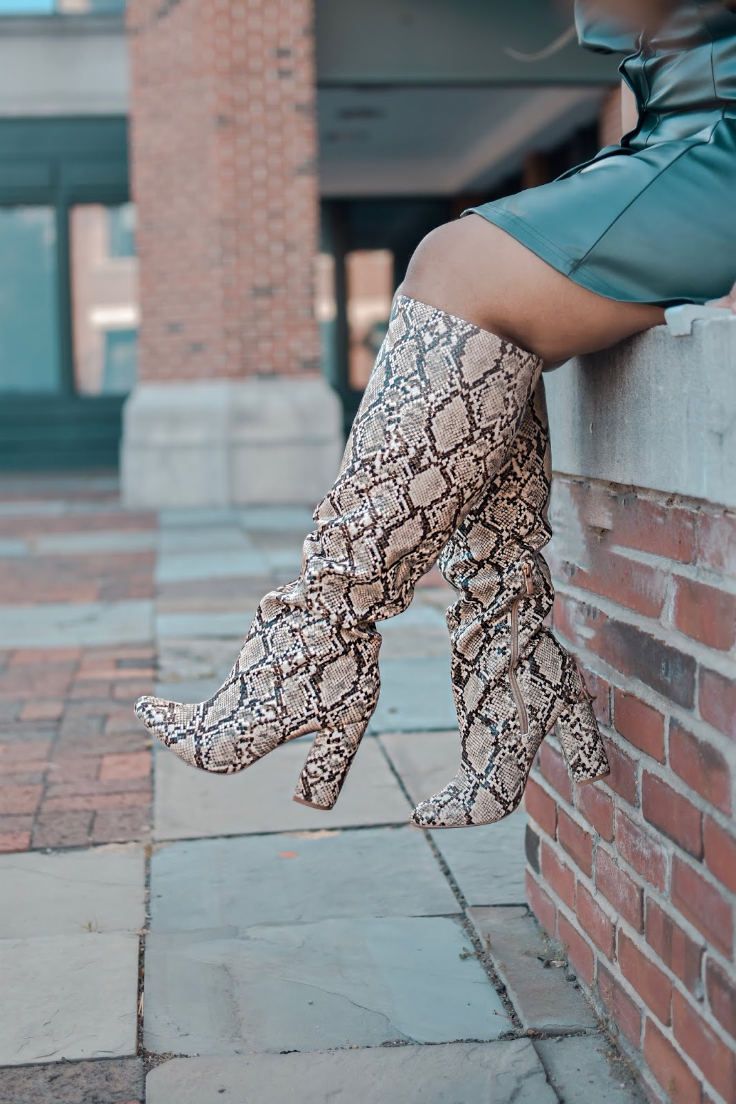 shoedazzle boots, animal print boots, snake print boots, shein dress, fall outfit ideas.