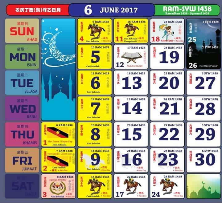 Gambar Kalendar 2017 Berserta Cuti Sekolah dan cuti umum Mei