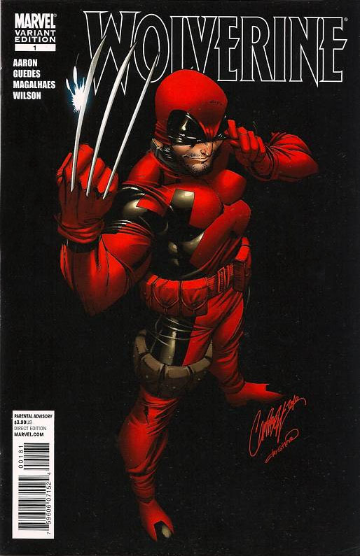 Comic book cover showing Wolverine in Deadpool's suit