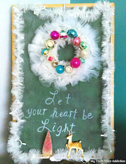 Nontraditional aqua and blush Christmas decor
