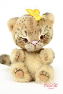 Artist teddy leopard, ooak snow leopard, handmade kitten, NatalKa Creations, teddies with charm, Teddy Katze, Teddy Leopard, Schnee Leopard, Irbis