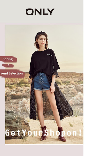 ONLY 100% cotton letter print loose T-shirt