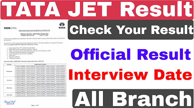 Tata JET 2020 Result | Tata Steel JET Result 2020 | TATA JET 2020 Interview Date