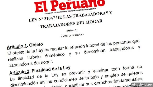 Ley 31047 de la trabajadoras y trabajadores del hogar Descargar PDF