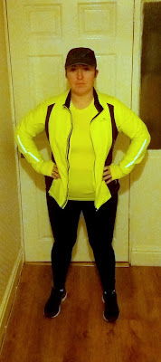running outfit, high visibility jacket, neon running top, sports/running leggings, Asics trainers,
