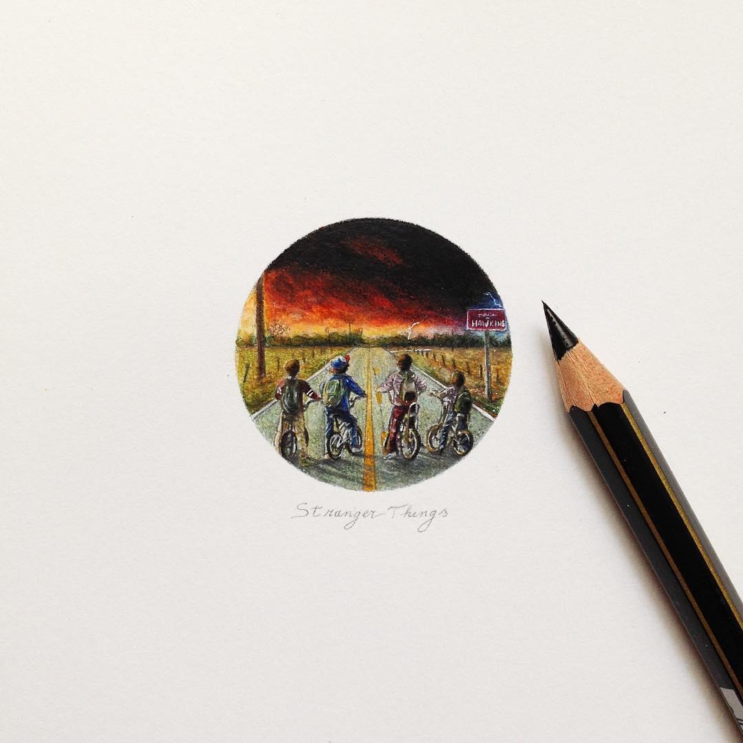 02-Stranger-Things-Claudia-Maccechini-Miniature-Tiny-Drawings-www-designstack-co