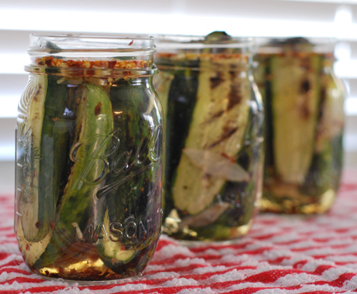 grilled sweet and spicy pickles