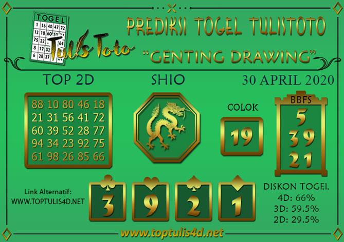 Prediksi Togel GENTING DRAWING TULISTOTO 30 APRIL 2020