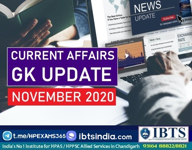 Monthly Current Affairs & GK Update: November 2020 (Download PDF Free)