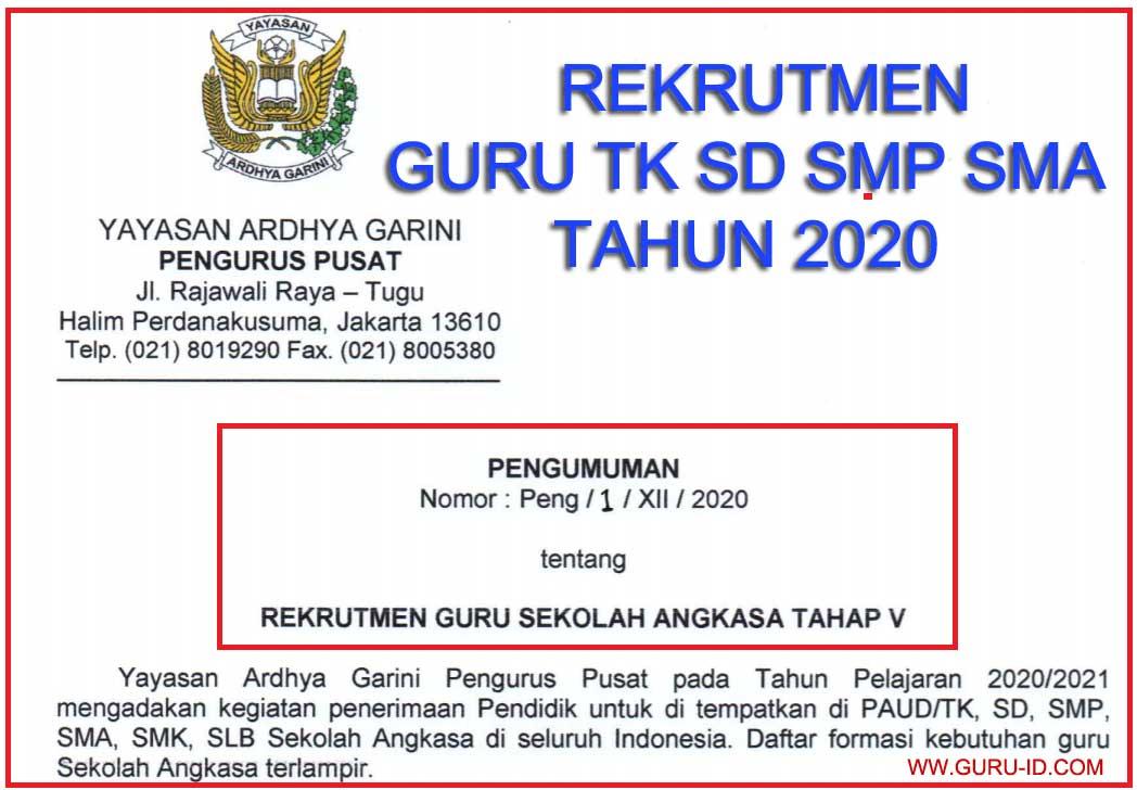 rekrutmen guru sd smp sma tahun 2020