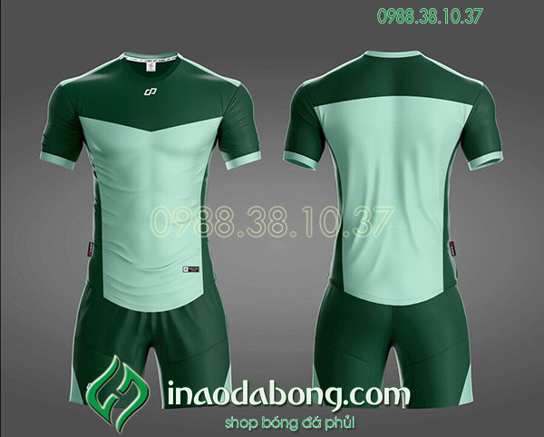Áo bóng đá ko logo CP KC màu xanh ngọc