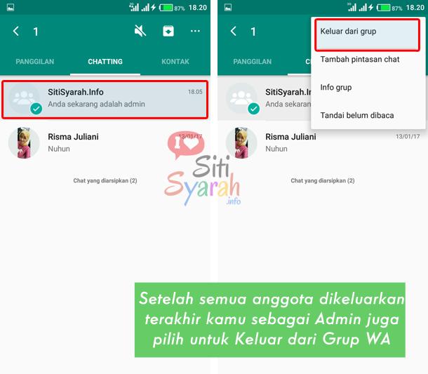cara menghapus grup whatsapp android