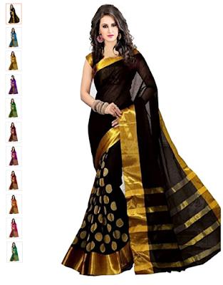Women's cotton Silk Saree With Blouse Piece in Goli Variation
