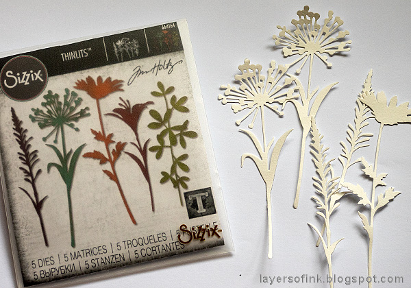 Layers of ink - Cherish Mixed Media Panel by Anna-Karin Evaldsson. Die cut Wildflower stems.