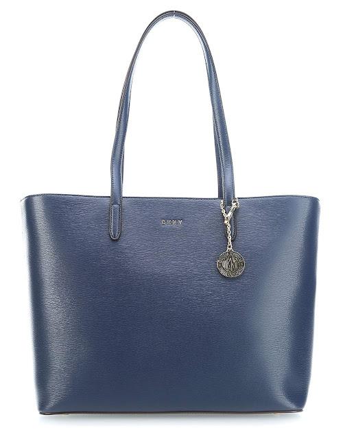 sac a main DKNY cabas femme cuir bleu pas cher