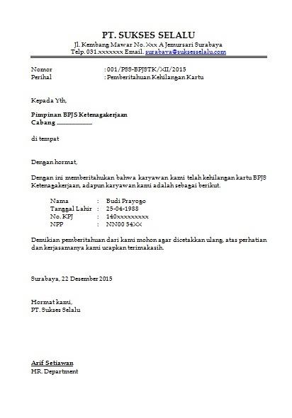 Contoh Surat Kehilangan Kartu BPJS Ketenagakerjaan ...