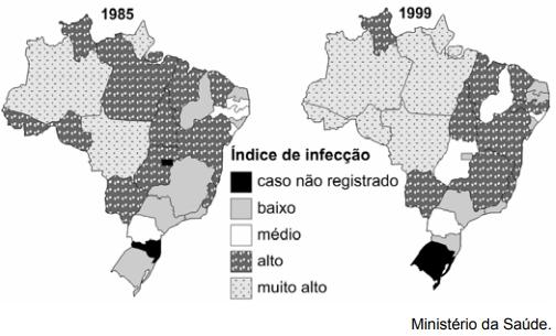 ENEM 2007: Os mapas abaixo apresentam informações acerca dos índices de infecção por leishmaniose tegumentar americana (LTA) em 1985 e 1999.