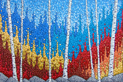 An Autumn Hike painting by duluth artist aaron kloss, siiviis gallery paintings, duluth mn artist, painting of birch trees in the fall autumn, pointillism, explore mn, visitduluth, visit duluth mn