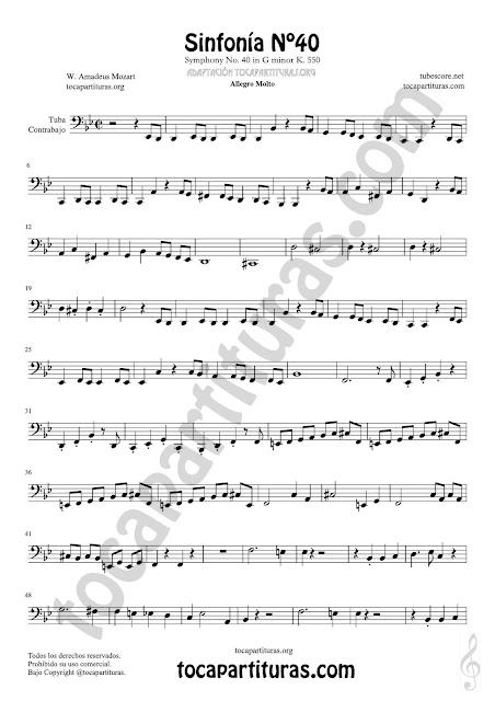 1 Symphony Nº 40 Sheet Music for Contrabass y Tuba Music Score Bass Clef 8ª down PDF and MIDI here