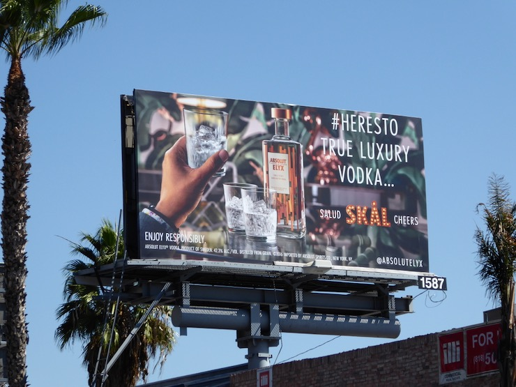 Salud Skal Cheers Absolut Elyx billboard