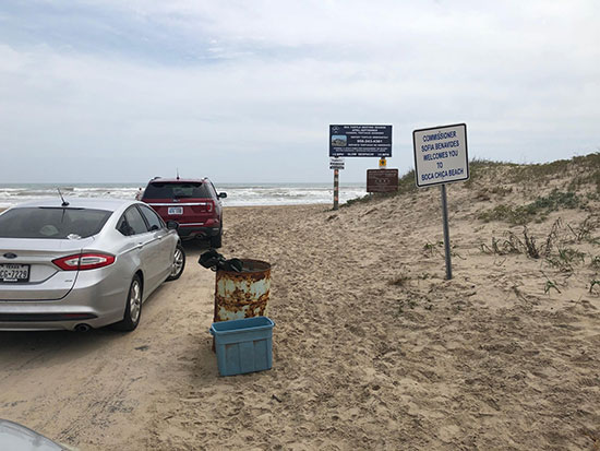 Texas Highway 4 just past SpaceX facility ends in Boca Chica beach (Source: Palmia Observatory)