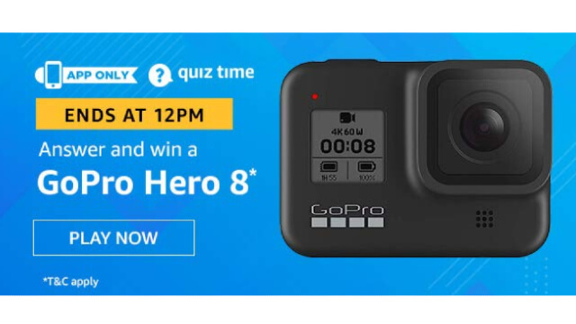 Amazon Quiz Answers Today 17 January win - GoPro Hero 8