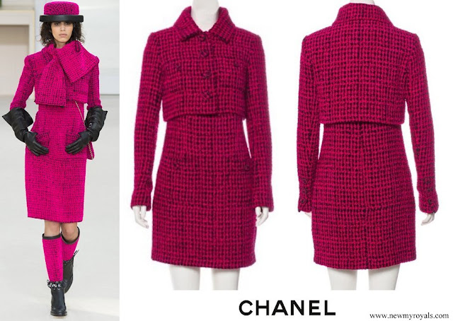 Queen Silvia wore Chanel tweed dress. Chanel Fall 2016 Ready-to-Wear Collection