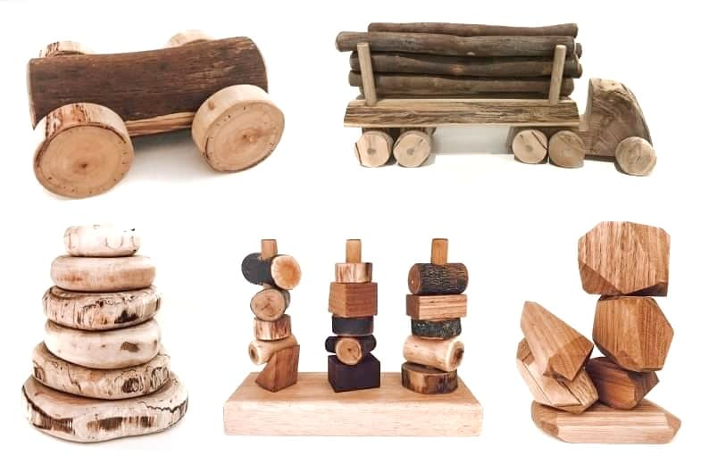 childrens toys made from tree branches