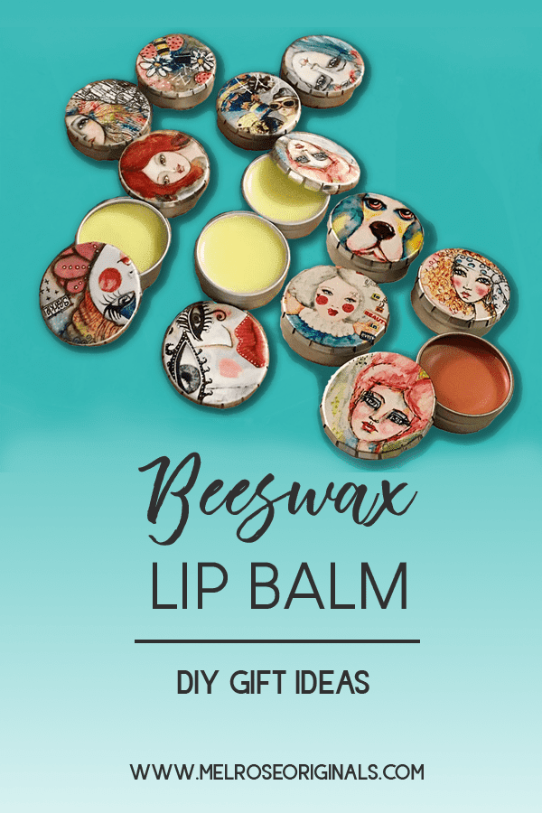 pinnable image of candy tins filled with diy lip balm