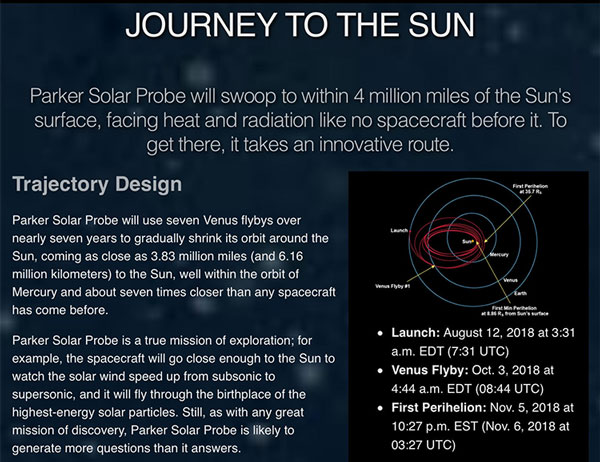 Parker Solar Probe -- Journey to the Sun (Source: www.parkerspaceprobe.jhuapl.edu)