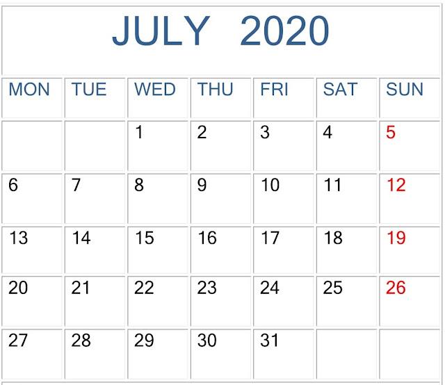 2020 July Calendar Printable