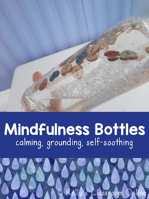 Mindfulness bottles (aka: sensory bottles) can be used in the classroom to help students deal with overwhelming emotions. Directions to make a bottle.