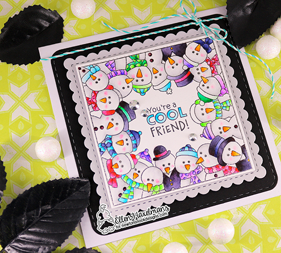 Cool Friend Square Snowman card by Ellen Haxelmans | Snowman Party Stamp Set and Frames Squared Die Set by Newton's Nook Designs #newtonsnook #handmade