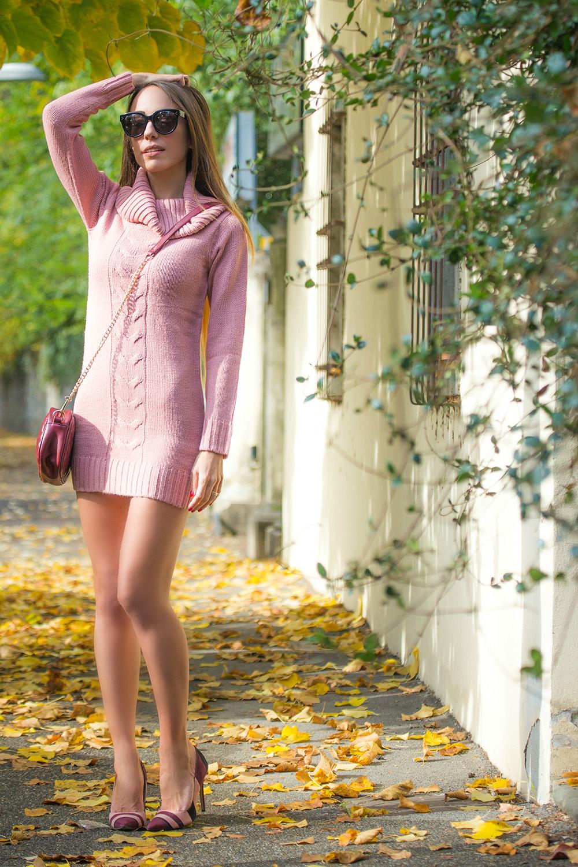 abito maglia rosa