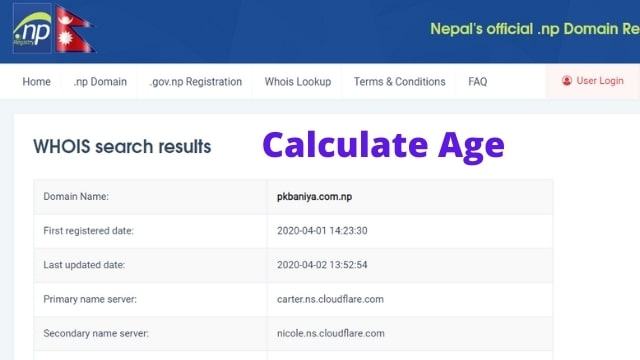 how to check the domain age of .com.np