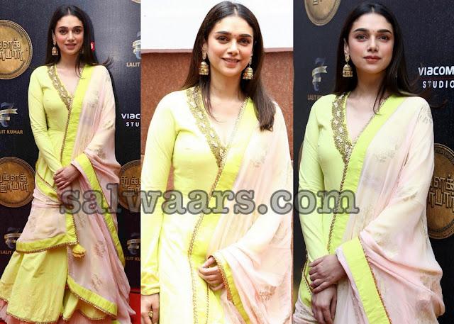 Aditi Rao Neon Green Salwar
