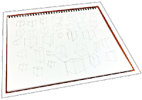 An example of a drawing practice exercise. Practicing drawing boxes can help improve your drawing skills.