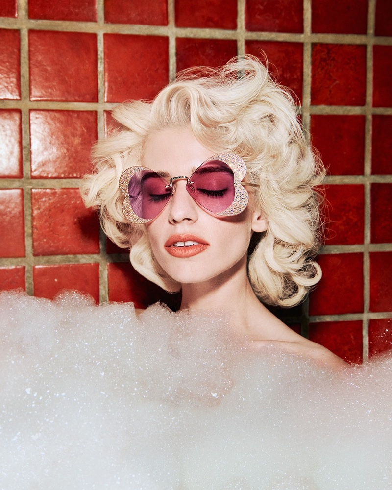 Models pose in a bubble bath for Gucci Hollywood Forever 2021 sunglasses campaign.