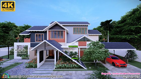 Traditional sloping roof house 2893 square feet