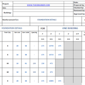 Bar bending schedule BBS excel sheet