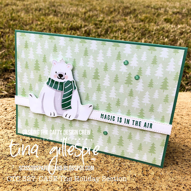 scissorspapercard, Stampin' Up!, CASEing The Catty, Penguin Playmates DSP, Christmas To Remember, All Dressed Up Dies, Christmas Card