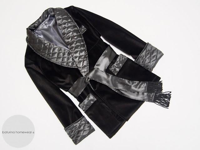 mens luxury smoking jacket black velvet gentleman quilted silk tasseled robe 19th century dressing gown